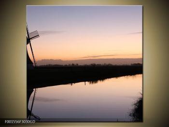 Obraz rybníku u mlýna (F001556F3030GD)