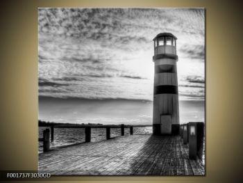 Černobílý obraz majáku (F001737F3030GD)