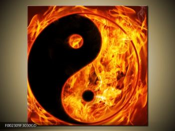 Obraz hořícího jin jang (F002309F3030GD)