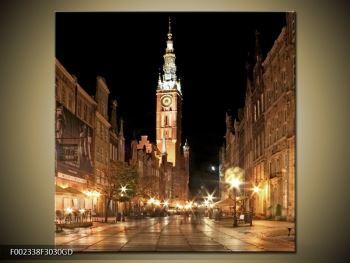 Obraz noční ulice s věží (F002338F3030GD)