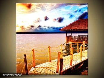 Obraz dřevěné přístavby na vodě (F002408F3030GD)