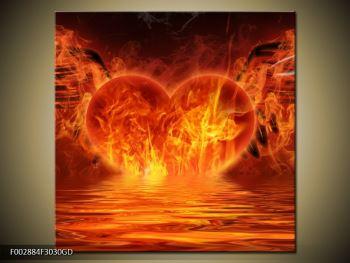 Obraz hořícího srdce s křídly  (F002884F3030GD)