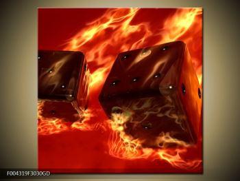 Moderní obraz hořících herních kostek (F004319F3030GD)