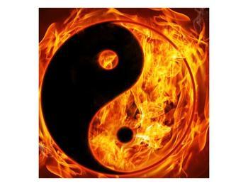 Obraz hořícího jin jang (F002309F4040)