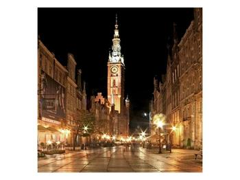 Obraz noční ulice s věží (F002338F4040)