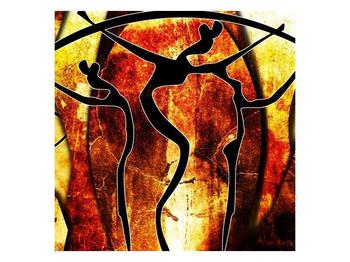 Obraz siluet na rudém pozadí  (F003506F4040)