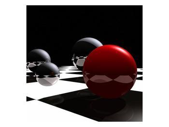 Obraz čtyř koulí na šachovnici - červená (F004098F4040)
