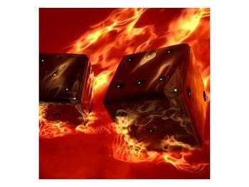 Moderní obraz hořících herních kostek (F004319F4040)