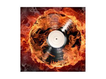 Tablou cu placă de gramofon în foc (K011171K4040)