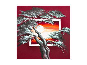 Moderní obraz stromu a východu slunce (K014022K4040)