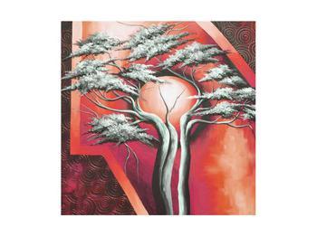 Tablou oriental roșu cu pom și soare (K014068K4040)