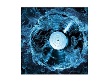 Tablou cu placă de gramofon în foc albastru (K014442K4040)