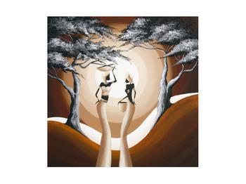Orientální obraz dvou žen a stromu  (K014682K4040)