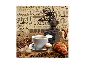 Obraz kávy, mlýnku a croissantů (K014713K4040)