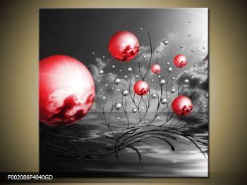 Moderní obraz - červené koule (F002086F4040GD)