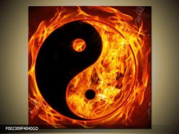 Obraz hořícího jin jang (F002309F4040GD)