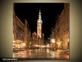 Obraz noční ulice s věží (F002338F4040GD)