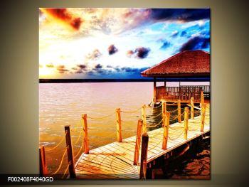 Obraz dřevěné přístavby na vodě (F002408F4040GD)