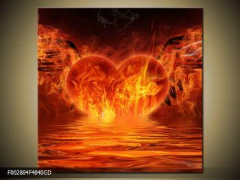 Obraz hořícího srdce s křídly  (F002884F4040GD)