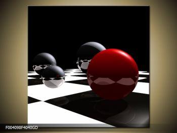 Obraz čtyř koulí na šachovnici - červená (F004098F4040GD)