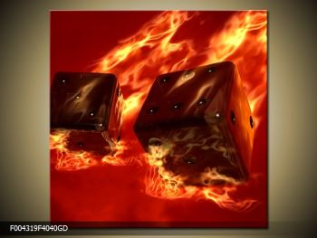 Moderní obraz hořících herních kostek (F004319F4040GD)