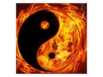 Obraz hořícího jin jang (F002309F5050)