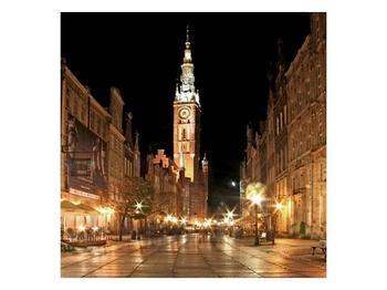 Obraz noční ulice s věží (F002338F5050)