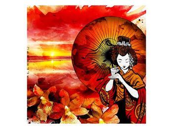 Obraz japonské ženy se slunečníkem  (F003686F5050)