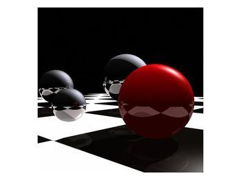 Obraz čtyř koulí na šachovnici - červená (F004098F5050)