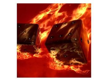 Moderní obraz hořících herních kostek (F004319F5050)