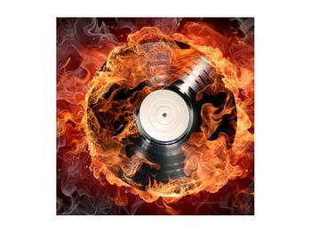 Tablou cu placă de gramofon în foc (K011171K5050)