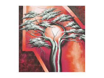 Tablou oriental roșu cu pom și soare (K014068K5050)