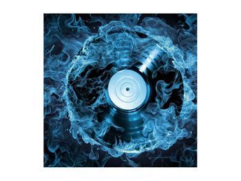Tablou cu placă de gramofon în foc albastru (K014442K5050)