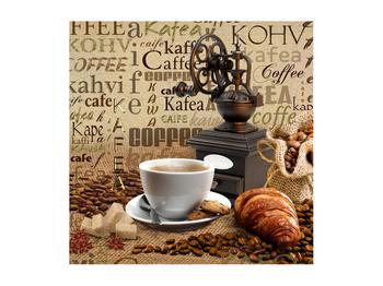 Obraz kávy, mlýnku a croissantů (K014713K5050)