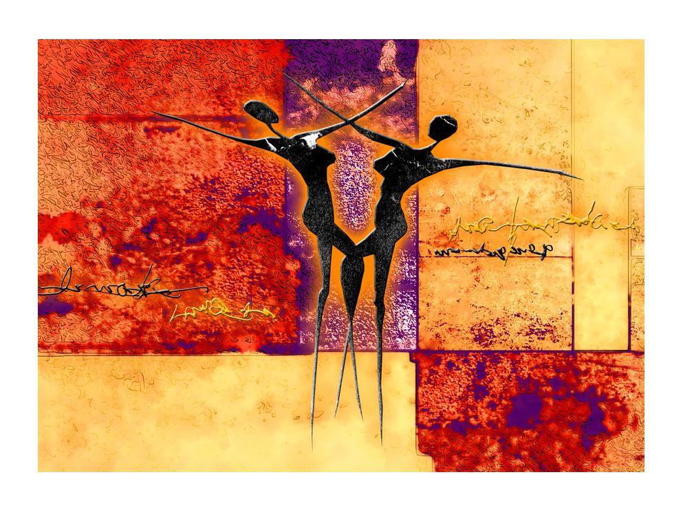 Tablou abstract cu doi dansatori (K011975K7050)