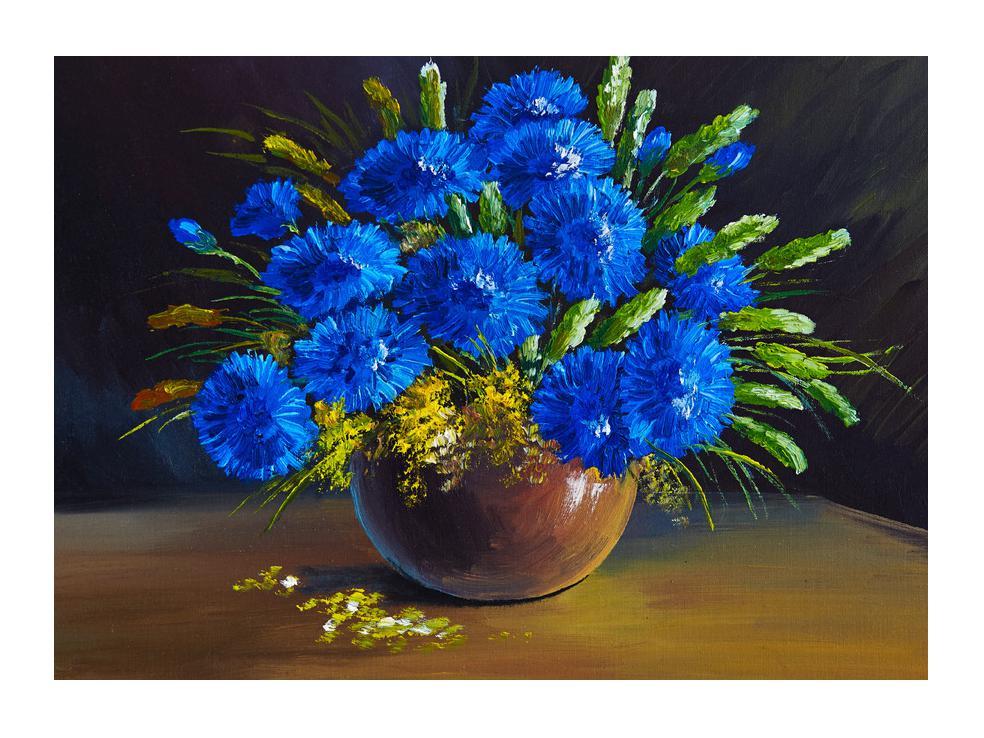 Slika plavog cvijeća u vazi (K012175K7050)