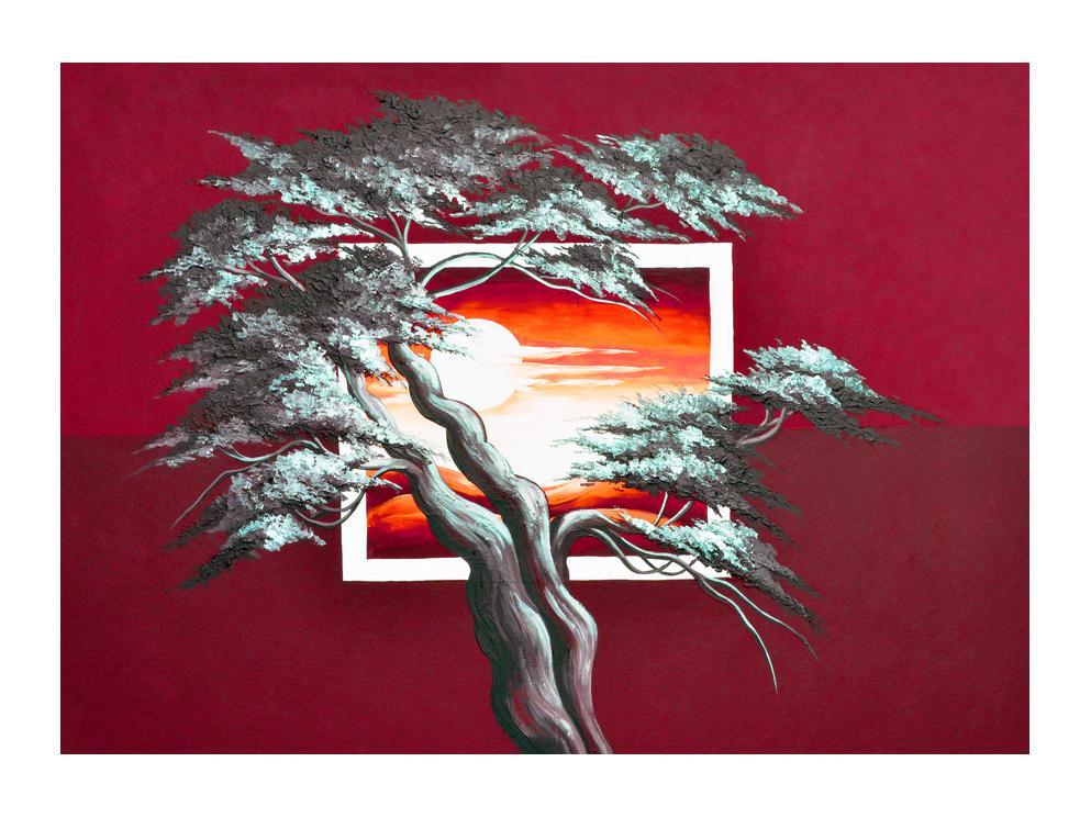 Moderní obraz stromu a východu slunce (K014022K7050)