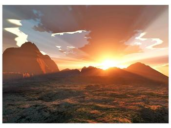 Obraz západu slunce nad horama (F001700F7050)