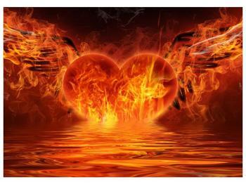 Obraz hořícího srdce s křídly  (F002884F7050)
