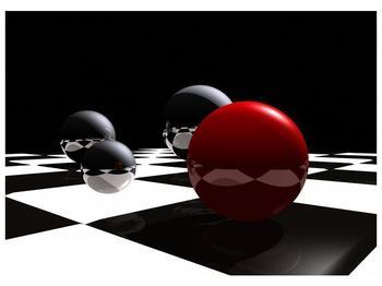 Obraz čtyř koulí na šachovnici - červená (F004098F7050)
