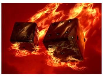 Moderní obraz hořících herních kostek (F004319F7050)