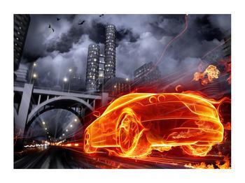 Tablou cu mașina arzând (K011167K7050)