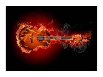 Lángoló gitár képe (K011168K7050)