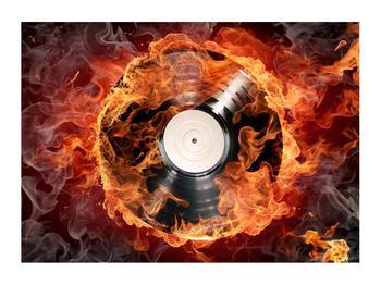 Tablou cu placă de gramofon în foc (K011171K7050)