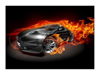 Tablou cu mașina arzând (K011174K7050)