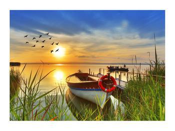 Obraz loďky na jezeře (K012049K7050)