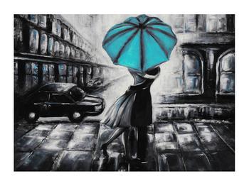 Obraz zamilovaného páru pod deštníkem (K012472K7050)
