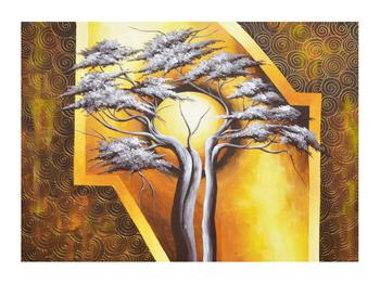 Orientální obraz stromu a slunce (K014067K7050)