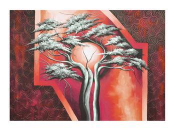 Tablou oriental roșu cu pom și soare (K014068K7050)