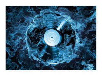 Tablou cu placă de gramofon în foc albastru (K014442K7050)